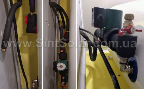 подключение труб к насосному модулю и бойлеру