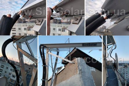 подключение труб к солнечному коллектору SintSolar DR